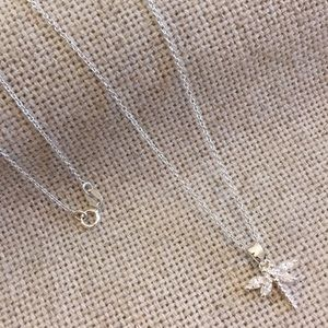 """Sterling Silver & CZ Dragonfly & Chain 17.75"""" inch"""